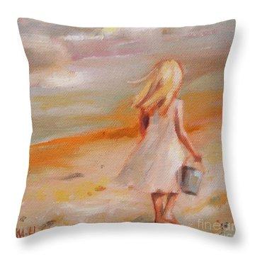 Beach Walk Girl Throw Pillow