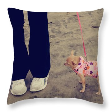 Beach Walk Throw Pillow by Laurie Search