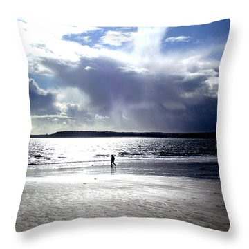 Lone Beach Walker Throw Pillow