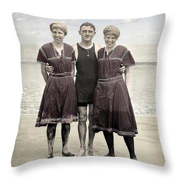 Beach Wear Fashion 1910 Throw Pillow