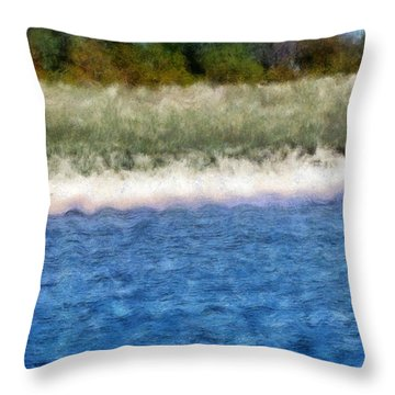 Beach With Short Dune Throw Pillow by Michelle Calkins