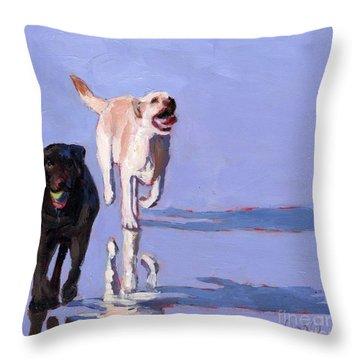 Beachball Throw Pillow by Molly Poole
