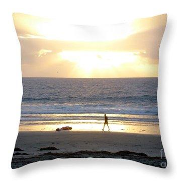 Beachcomber Encounter Throw Pillow by Barbie Corbett-Newmin