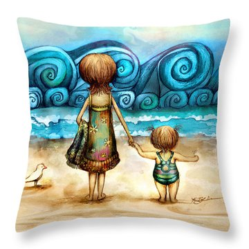 Beachcombers Throw Pillow by Karin Taylor