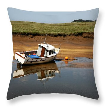 Beached Boat In River Estuary Throw Pillow