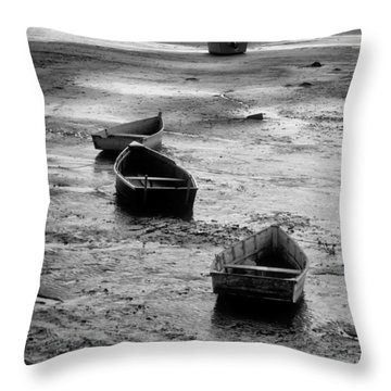 Beached Boats Throw Pillow by Gary Slawsky