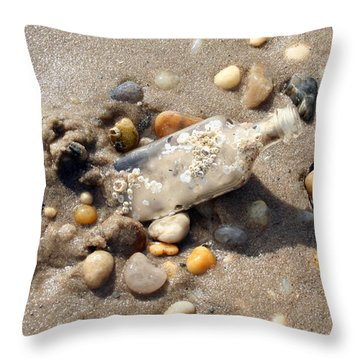 Beached Bottle Throw Pillow