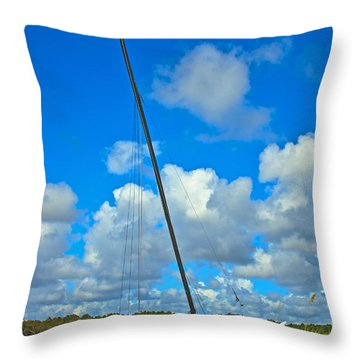 Beached Catamaran  Throw Pillow