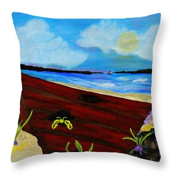 Beached Throw Pillow by Celeste Manning