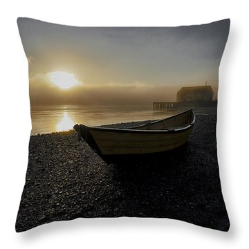 Beached Dory In Lifting Fog  Throw Pillow