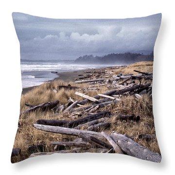 Beached Driftlogs Throw Pillow