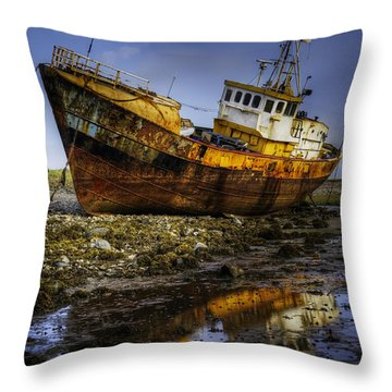 Throw Pillow featuring the photograph Beached Fishing Trawler Reflecting While Waiting For The Tide by Dennis Dame