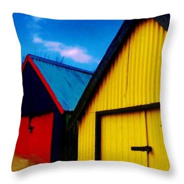 Beached Hut Throw Pillow