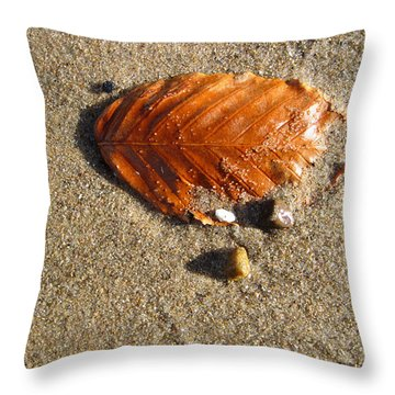 Throw Pillow featuring the photograph Beached Leaf by Mary Bedy