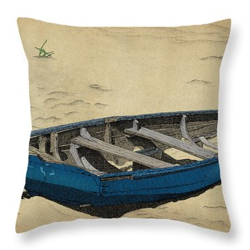 Throw Pillow featuring the drawing Beached by Meg Shearer