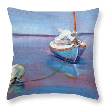 Beached Sailboat At Mooring Throw Pillow