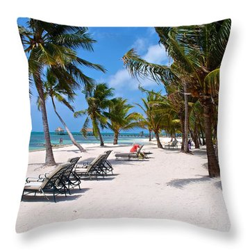 Beachy Belize Throw Pillow by Kristina Deane