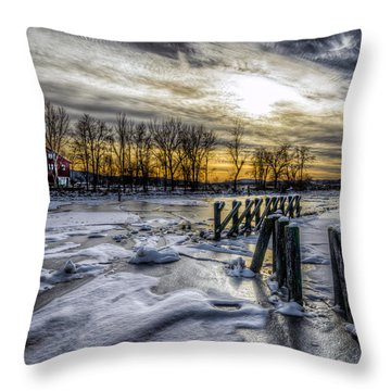 Throw Pillow featuring the photograph Beacon Ferry Dock by Rafael Quirindongo