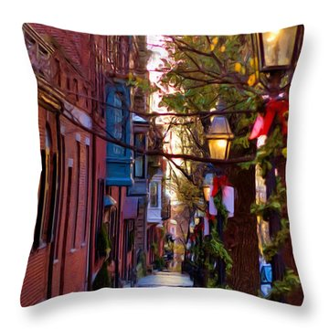 Beacon Hill Streets Throw Pillow by Joann Vitali