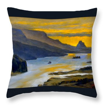 Beacon Rock From Oregon Side Throw Pillow