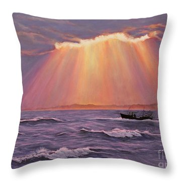 Throw Pillow featuring the painting Beacons Of Light by Cindy Lee Longhini