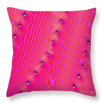 Throw Pillow featuring the digital art Beaded Pink by Luther Fine Art