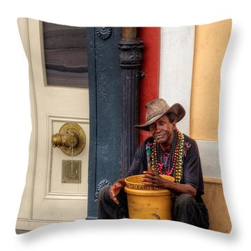 Beads And Bucket In New Orleans Throw Pillow