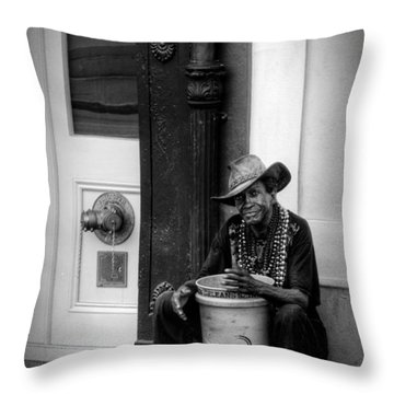 Beads And Bucket In New Orleans In Black And White Throw Pillow