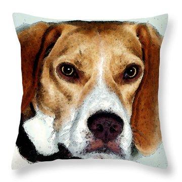 Beagle Art - Eagle Boy Throw Pillow by Sharon Cummings