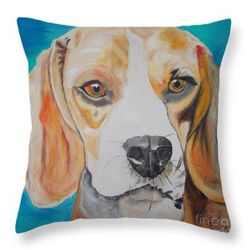 Throw Pillow featuring the painting Beagle by PainterArtist FIN