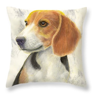 Beagle Throw Pillow by Ruth Seal