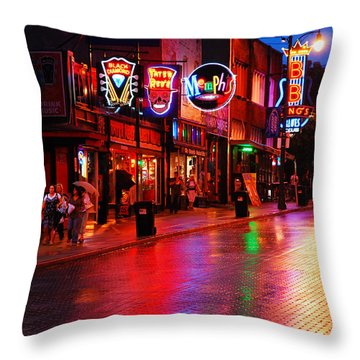 Beale Street Memphis Throw Pillow