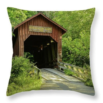 Bean Blossom Covered Bridge Throw Pillow by Mary Carol Story