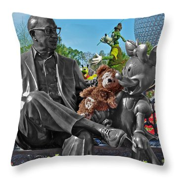 Bear And His Mentors Walt Disney World 03 Throw Pillow by Thomas Woolworth