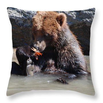 Bear Cub Throw Pillow by DejaVu Designs