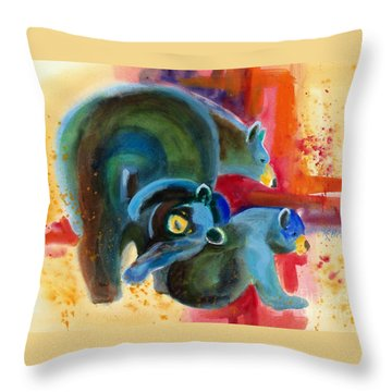 Throw Pillow featuring the painting Bear Family In Red by Kathy Braud