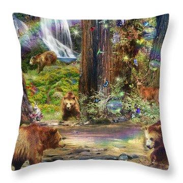 Bear Forest Magical Throw Pillow