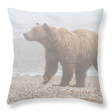 Bear In Fog Throw Pillow