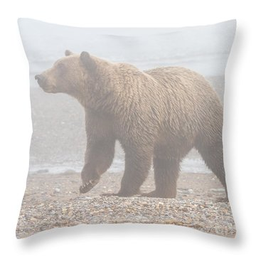 Bear In Fog Throw Pillow
