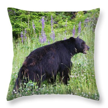 Throw Pillow featuring the photograph Bear In The Roadside Flowers by Myrna Bradshaw