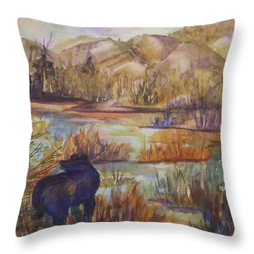 Bear In The Slough Throw Pillow by Ellen Levinson