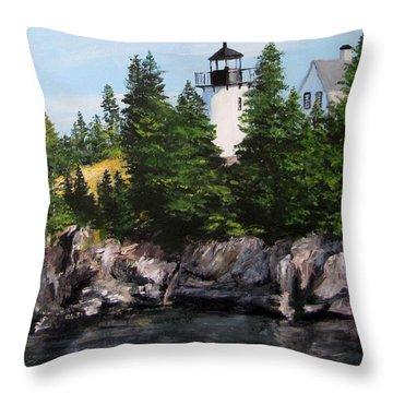 Bear Island Lighthouse Throw Pillow by Jack Skinner