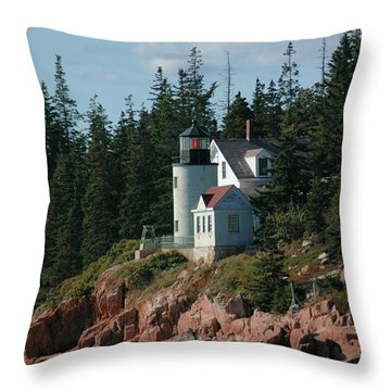 Bear Island Lighthouse Throw Pillow by Kathleen Struckle