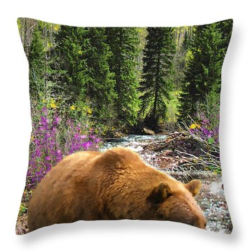 Throw Pillow featuring the painting Bear Necessities by Doug Kreuger