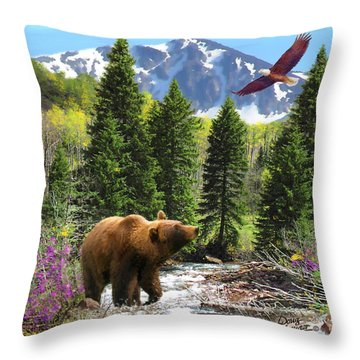 Throw Pillow featuring the painting Bear Necessities Ill by Doug Kreuger