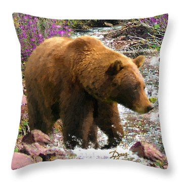 Throw Pillow featuring the painting Bear Necessities II by Doug Kreuger