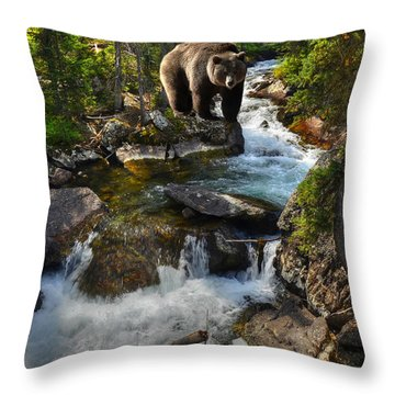 Bear Necessity Throw Pillow by Ken Smith
