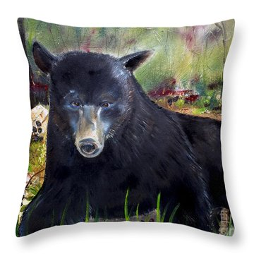 Throw Pillow featuring the painting Bear Painting - Blackberry Patch - Wildlife by Jan Dappen