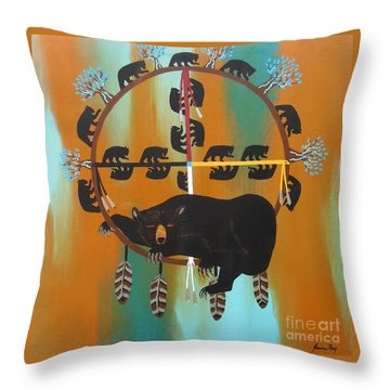 Bear Totem And Medicine Wheel Throw Pillow