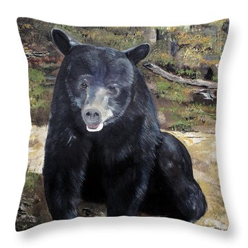 Bear - Wildlife Art - Ursus Americanus Throw Pillow